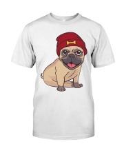 Beanie Pug  Classic T-Shirt front