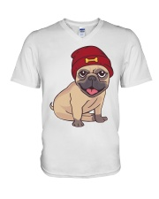 Beanie Pug  V-Neck T-Shirt tile