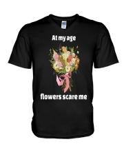 At My Age Flowers Scare Me V-Neck T-Shirt thumbnail