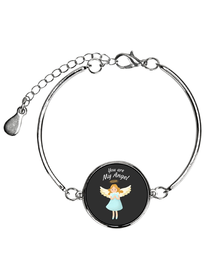 You Are My Angel  Metallic Circle Bracelet