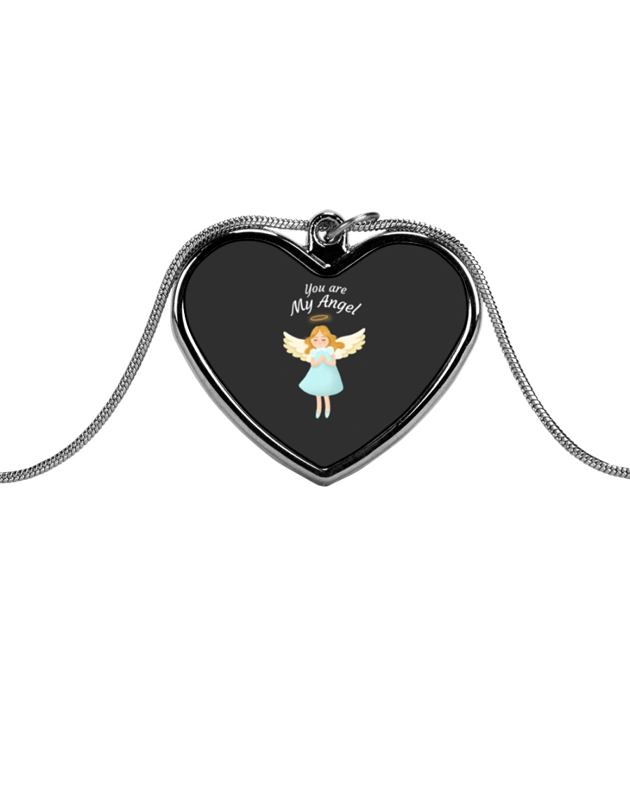 You Are My Angel  Metallic Heart Necklace