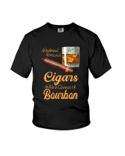 WEEKEND FORECAST CIGARS WITH A CHANCE OF BOURBON Youth T-Shirt tile