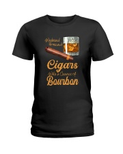 WEEKEND FORECAST CIGARS WITH A CHANCE OF BOURBON Ladies T-Shirt thumbnail