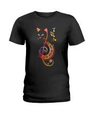 CAT PIANO MUSIC NOTE Ladies T-Shirt thumbnail