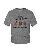 COWS MAKE ME HAPPY HUMAS MAKE MY HEAD HURT Youth T-Shirt thumbnail