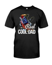 FISHING AMERICA FLAG REEL COOL DAD Classic T-Shirt front
