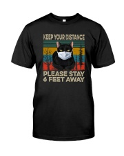 FUNNY BLACK CAT PLEASE STAY 6 FEET AWAY Classic T-Shirt front