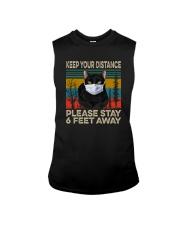 FUNNY BLACK CAT PLEASE STAY 6 FEET AWAY Sleeveless Tee thumbnail
