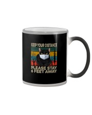 FUNNY BLACK CAT PLEASE STAY 6 FEET AWAY Color Changing Mug thumbnail