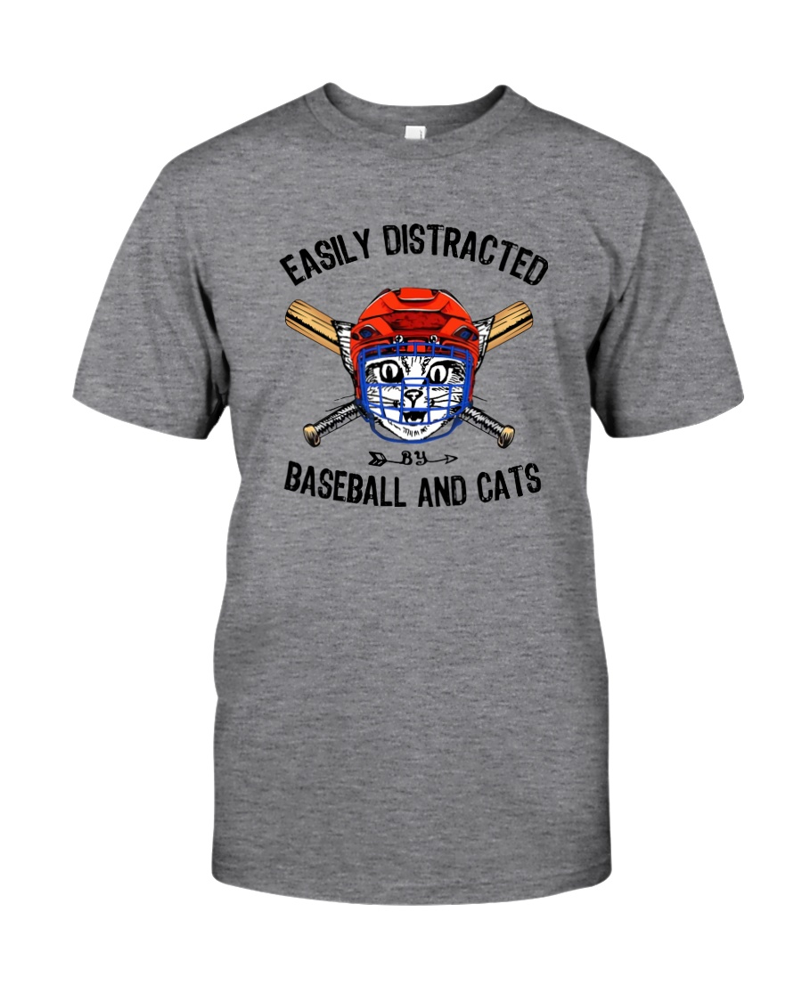EASILY DISTRACTED BY CATS AND BASEBALL Classic T-Shirt