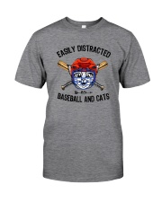 EASILY DISTRACTED BY CATS AND BASEBALL Classic T-Shirt front