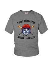 EASILY DISTRACTED BY CATS AND BASEBALL Youth T-Shirt thumbnail