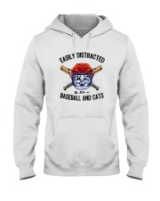 EASILY DISTRACTED BY CATS AND BASEBALL Hooded Sweatshirt thumbnail
