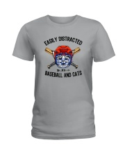 EASILY DISTRACTED BY CATS AND BASEBALL Ladies T-Shirt thumbnail