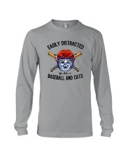 EASILY DISTRACTED BY CATS AND BASEBALL Long Sleeve Tee thumbnail