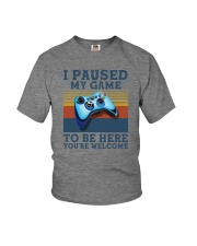 I PAUSED MY GAME TO BE HERE Youth T-Shirt thumbnail