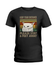 FUNNY PUG PLEASE STAY 6 FEET AWAY Ladies T-Shirt tile