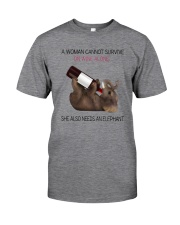 A WOMAN NEEDS WINE AND AN ELEPHANT Classic T-Shirt front