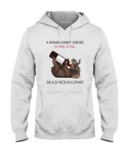 A WOMAN NEEDS WINE AND AN ELEPHANT Hooded Sweatshirt thumbnail