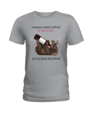 A WOMAN NEEDS WINE AND AN ELEPHANT Ladies T-Shirt thumbnail