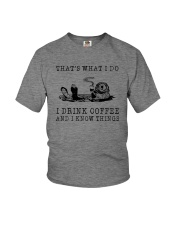 I DRINK COFFEE AND I KNOW THINGS OTTER Youth T-Shirt thumbnail