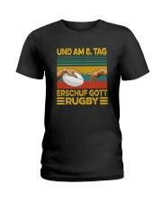 UND AM 8 TAG ERSCHUF GOTT RUGBY Ladies T-Shirt thumbnail