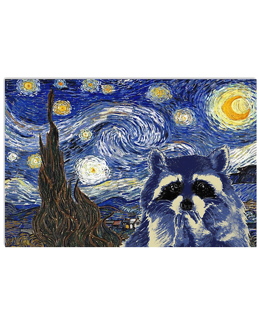 STARRY NIGHT RACCOON 24x16 Poster