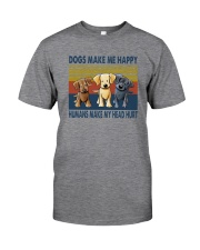 DOGS MAKE ME HAPPY VINTAGE Classic T-Shirt front