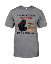 WOMAN SURVIVE ON COFFEE AND A CAT Classic T-Shirt thumbnail