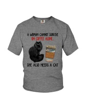 WOMAN SURVIVE ON COFFEE AND A CAT Youth T-Shirt tile