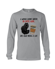 WOMAN SURVIVE ON COFFEE AND A CAT Long Sleeve Tee thumbnail