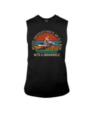 NEVER UNDERESTIMATE AN OLD MAN WITH A SNOWMOBILE Sleeveless Tee thumbnail