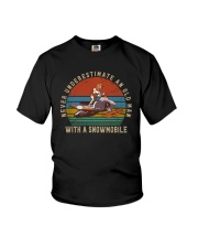 NEVER UNDERESTIMATE AN OLD MAN WITH A SNOWMOBILE Youth T-Shirt thumbnail