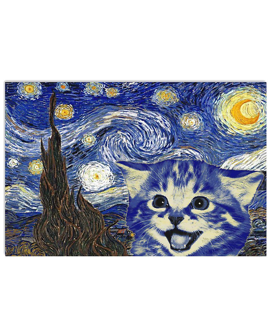 STARRY NIGHT KITTY 24x16 Poster