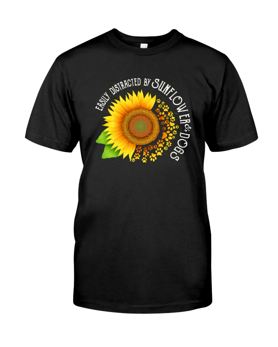 EASILY DISTRACTED BY SUNFLOWERS AND DOGS Classic T-Shirt