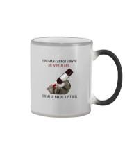 A WOMAN NEEDS  WINE AND PITBULL Color Changing Mug thumbnail