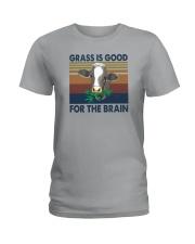 GRASS IS GOOD FOR THE BRAIN Ladies T-Shirt thumbnail