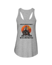 NEVER UNDERESTIMATE AN OLD MAN WITH A MOTORCYCLE Ladies Flowy Tank thumbnail