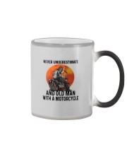 NEVER UNDERESTIMATE AN OLD MAN WITH A MOTORCYCLE Color Changing Mug thumbnail