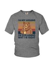 I'M NOT ARGUING COFFEE BEAR Youth T-Shirt thumbnail