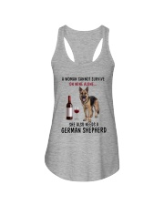 A WOMAN NEEDS WINE AND A GERMAN SHEPHERD Ladies Flowy Tank thumbnail