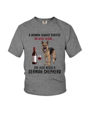 A WOMAN NEEDS WINE AND A GERMAN SHEPHERD Youth T-Shirt thumbnail