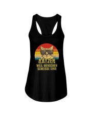 Katzen weil Menschen scheiße sind vintage Ladies Flowy Tank thumbnail