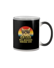 Katzen weil Menschen scheiße sind vintage Color Changing Mug thumbnail