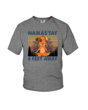 NAMASTAY 6 FEET AWAY DOG YOGA Youth T-Shirt thumbnail