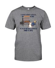 A MAN NEEDS BOURBON AND A SMOKER AND A DOG Classic T-Shirt front