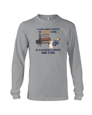 A MAN NEEDS BOURBON AND A SMOKER AND A DOG Long Sleeve Tee thumbnail
