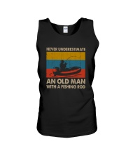 NEVER UNDERESTIMATE AN OLD MAN WITH A FISHING ROD Unisex Tank thumbnail