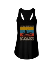 NEVER UNDERESTIMATE AN OLD MAN WITH A FISHING ROD Ladies Flowy Tank thumbnail