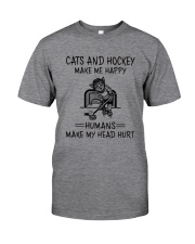 CATS AND HOCKEY MAKE ME HAPPY Classic T-Shirt front